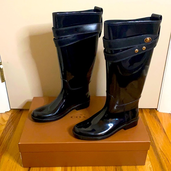 Coach Talia Rain Boot Black 8M with original box